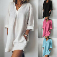 ZANZEA Women Long Sleeve V Neck Mini Dress Summer Long Shirt Dress Tops Blouse