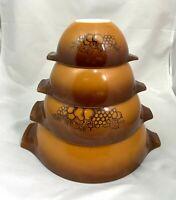 Vintage Pyrex Old Orchard Fruit Brown Cinderella Nesting Mixing Bowls Set of 4