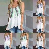 Women Sleeveless Feather Printed Shirts Blouse Casual Tank Tops T-Shirt Crop Top