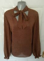 ❤ NEXT Ladies Size 14 Brown Pussybow Blouse Top Semi Sheer Shirt NEW