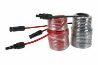 1 Pair 50 ft Solar Panel Extension Connector 10 AWG PV Cable Wire Blk/Red