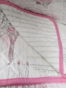 NICOLE MILLER Kids Girls Big Ben Bus White Pink Gray Stripe Quilt -Twin