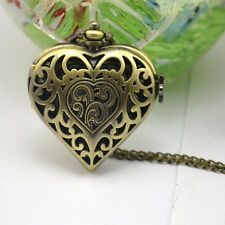 New Antique Brass Necklace Pendant Skeleton Heart Beautiful Quartz Pocket Watch