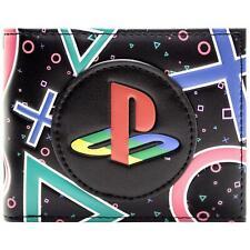 NOUVEAU OFFICIAL PLAYSTATION Coloré symboles & Logo Noir ID & carte Bi-Fold Portefeuille