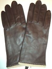 Fownes Beige Angora Wool  Lined Brown Genuine Leather Gloves,XLarge