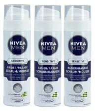 3x 200ml Nivea Men Rasierschaum sensitive schützt sensible Haut Ultra Glide