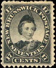 Mint H Canada New Brunswick 1860 17c F+ Scott 11 Queen Victoria Stamp