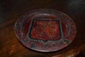 Folk Art Czechoslovakian Crests Coat ofArms DecorativeWooden Plate light platter
