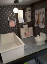 Barbie doll size  bathroom for dolls... bath,toilet,cabinet..etc...full set!!!
