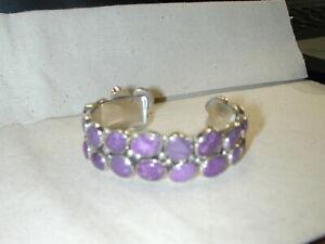 Nakai Purple Polished Purple Amethyst sterling 22mm cuff bracelet