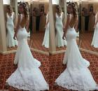 Sexy Mermaid lace Wedding Dress V Neck backless Bridal Gown Custom made size new