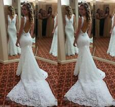 Sexy Mermaid Lace Wedding Dresses V Neck Backless Bridal Gown Custom 4 6 8 10 12