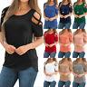 Womens Cold Shoulder T-Shirt Tops Short Sleeve Summer Casual Tee Shirts Blouse