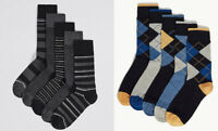 M&S Men Pack of 5 pairs Cool Freshfeet BLACK BLUE GREY Cotton MIX Socks 8 - 12