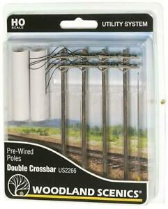 Woodland Scenics Terrain Pre-Wired Poles - Double Crossbar (HO Scale) Pack New