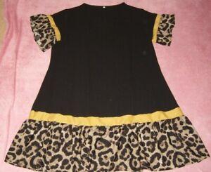 LADIES SIZE 20 BLACK, MUSTARD AND LEOPARD PRINT TUNIC DRESS SHEIN