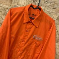 Vintage RED KAP Workwear Work Long Sleeve Shirt Orange USA Large L