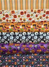Halloween Fabric Fat Quarters or FQ Bundles Bats Spiders Fabric Bunting Display