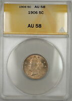 "1906 Full Corn Liberty ""V"" Nickel 5c ANACS AU-58 Lightly Toned (Better Coin)"