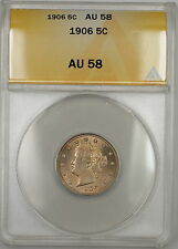 1906 Full Corn Liberty V Nickel 5c ANACS AU-58 Lightly Toned (Better Coin)