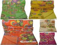 Indian Handmade Kantha Quilt Throw Vintage Cotton Bedspread Reversible Gudri Art