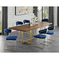Wood Veneer Top Dining Room Table Modern Metal Base