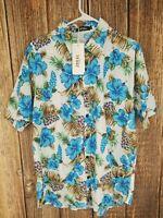 Jogal L Large Men's Hawaiian Button Down Short Sleeve Shirt Blue Floral L NWT