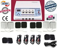 New 4 Channel ElectroTherapy Multi Pain Relief Chiropractic Pulsed Therapy Unit