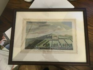 Hand coloured Engraving print Lumley Castle 17C Buck Brothers framed glazed vgc