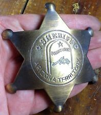 Sheriff Tombstone Arizona AZ Star Shape Antique Brass Pinback Old West Badge