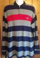 Vintage Polo Sport Striped Embroidered Flag Logo Rugby Shirt Size Large