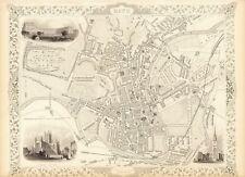 Antique Bath England decorative map Tallis 31,5 x 23,6 inch canvas