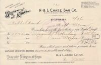 U.S. H. & L. Chase Bag Co. St Louis 1903 Bags of all Kinds Paid Invoice Rf 42509