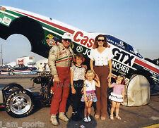 JOHN FORCE WITH DAUGHTERS NHRA FUNNY CAR TOP DRAG RACING 8x10 PHOTO