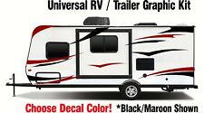 RV Graphic Kit Black / Burgundy vinyl sticker decal stripes Toy Hauler Trailer
