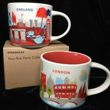 Starbucks London England YAH Mug Set Stonehenge Big Ben Bus Tea You Are Here UK