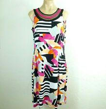 Nina Leonard Womens Dress M Geometric Print Jersey knit Sleeveless Sheath