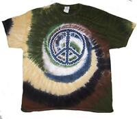 CAMO PEACE SIGN TYE DYED TEE SHIRT mens womens SIZE XLG hippie tie dye t#TDT11