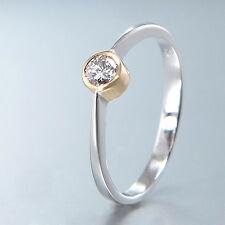 SOLITÄRRING - Diamant 0,14 ct TW-VSI, 18K/750 Weißgold - Größe 49 änderbar