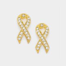 Crystal Cancer Awareness Ribbon Symbol Stud Gold Tone Pierced Earrings
