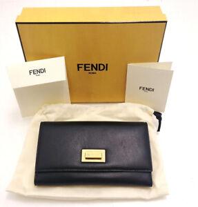 Fendi Peekaboo Double Flap Leather Continental Wallet In Black 8M0308
