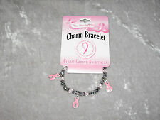 Breast Cancer Awareness Fashion Charm Stretch Bracelet Pink Ribbon Beads NEW!