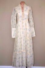 Vtg 60s 70s Gunne Sax Hippie Prairie Boho Corset Sheer Prom Maxi Dress sz S XS