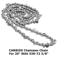 Solid Carbide Chainsaw Chain 72 Links Chain Kit For 20 Inch 33R-72 Chainsaw