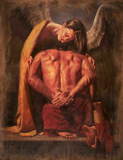 Handmade Oil Painting repro Angel and Male Nude 20x24