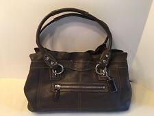 Coach Penelope Brown Medium Top Ruffled Pebbled Leather Handbag EUC F14686
