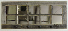 Reclaimed Barn Wood 10-Pane Entryway Coat Rack Window Rustic Home Decor Mirror