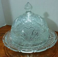 Beautiful Vintage Pressed Clear  Glass Covered Butter Cheese Dish / Dome Lid