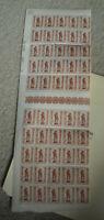 Vintage Sheet of 50 Stamps WWII Belgium #611 Belgique Belgie TB 10+5C