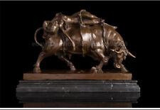 Western Art decoration Sculpture Bronze naked belle Bundled Bull Ox Figurine